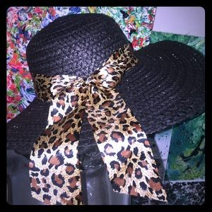 Black Leopard 🐆 Straw Beach 🏖 Hat